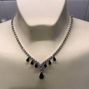 Vintage Astra Rhinestone Rhodium plated necklace